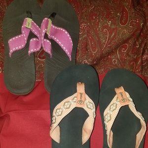Reef flip flops.  2 pair size 9. Both pre owned.
